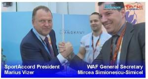 Presidente sportaccord y secretario general waf echando un pulso